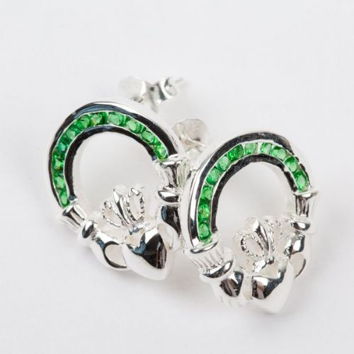 Claddagh Stud Earrings Emerald Green Stones Sterling Silver